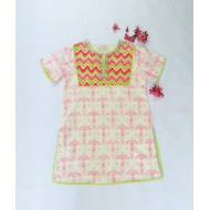 Two Feet White-Pink Flower Burst Aztec Printed Cotton Kurti with Sequins